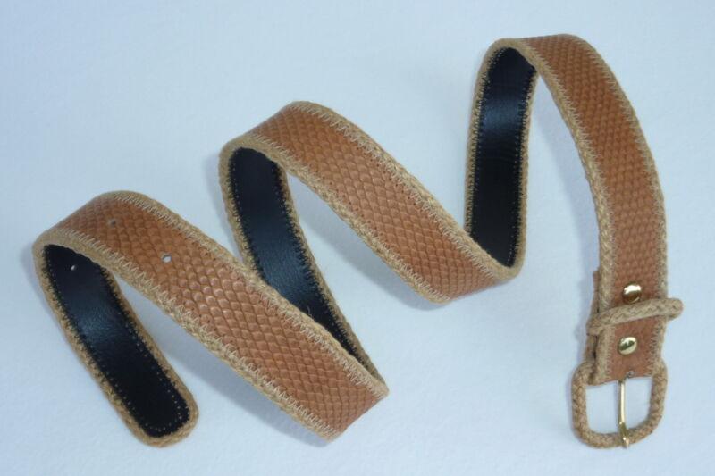 * Neu * Damengürtel Gürtel Leder Lederprägung Jute Braun Beige Breite: 2,7 Cm