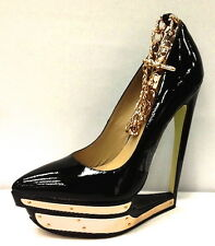 Emily B IMPERIAL Black Patent Leather Platform Stiletto Pump Gold Link Ankle 8.5