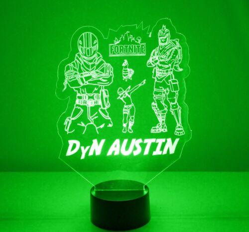 Fortlite 3D Personalized Night Light Lamp LED PS4 USB Color Change Gift Gamer