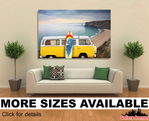 VW Eurovan Van and Surf Board at Beach 3.2 Wall Art Canvas Picture Print