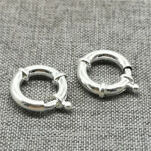 5x-7mm Solid Sterling Silver Bolt Ring Clasp Open Heavy-Findings-Spring Ring