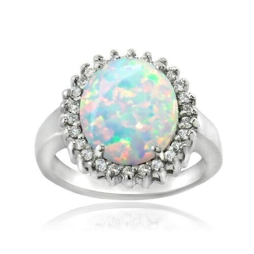 925 Silver 2.65ct Created White Opal /& CZ Oval Ring