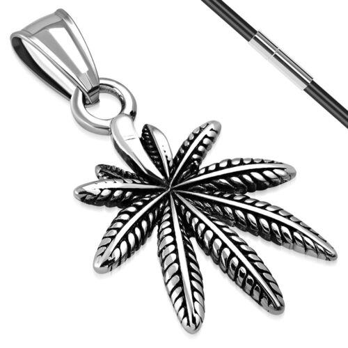 Colgante de acero inoxidable hanfblatt pot leaf Correa collar plateado señora caballero