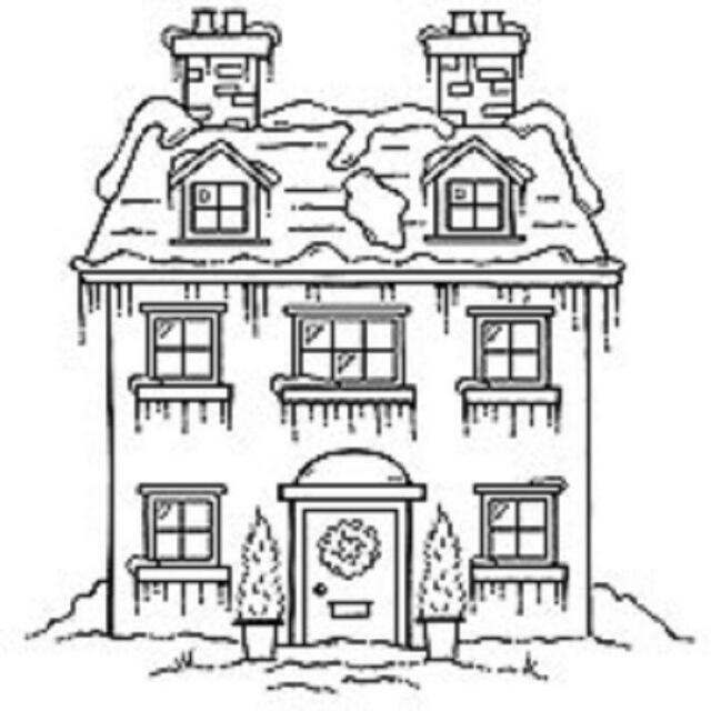 Christmas House Drawing.Woodware Clear Singles Magic Stamp Christmas House Frs105