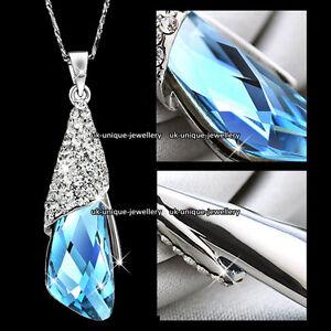 Cristal-Azul-Plata-Collar-Cadena-Colgante-Navidad-Para-Ella-Esposa-Parejas