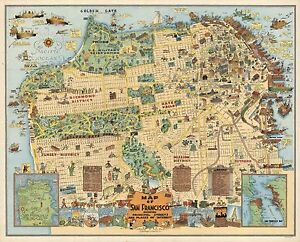 1927-PICTORIAL-map-San-Francisco-Shows-streets-places-of-Interest-POSTER-8102