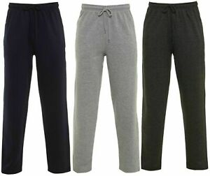 Open-Hem-Jogging-Bottoms-Joggers-Fleece-Trousers-Mens-Black-Grey-Charcoal-New