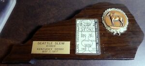 1977-KENTUCKY-DERBY-SEATTLE-SLEW-2-WIN-TICKET-ON-WOODEN-WALL-PLAQUE-VERY-RARE