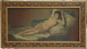 Details About Beautiful Vintage After Goya Giclee On Canvas La Maja Desnuda In Carved Frame