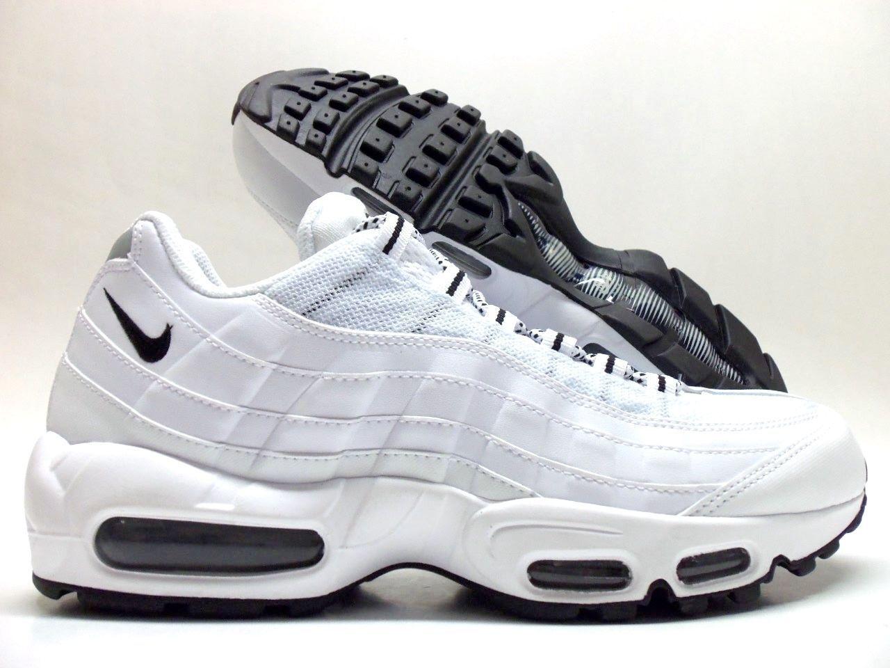 NIKE AIR MAX '95 Running Shoes WHITE/BLACK-BLACK  MEN'S  609048-109 Sz 13