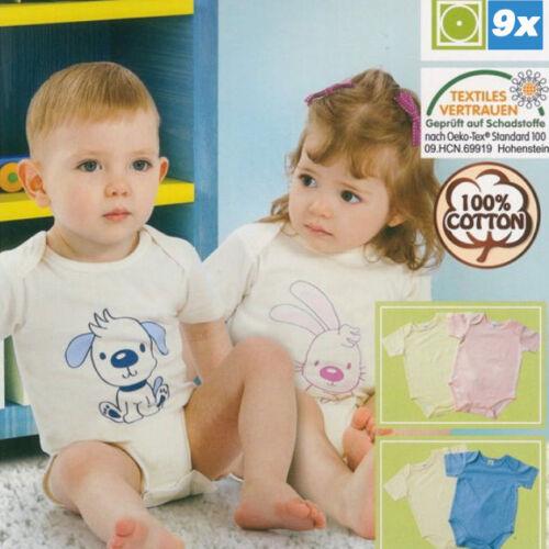 9er Packung Baby Body Bodys Babybodys Bodies Kurzarm in Gr 62 68 74 80 86 92