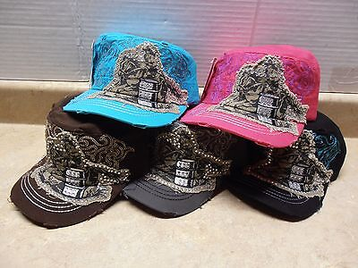 Ladies Military Cargo Cadet Ball Cap Hat Colorful Embroidered Skull Cross Flower