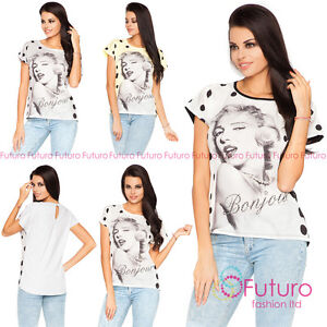 Casual Sequined T-Shirt With Lace Bonjour Print Top Party Tunic Size 8-12 FB246