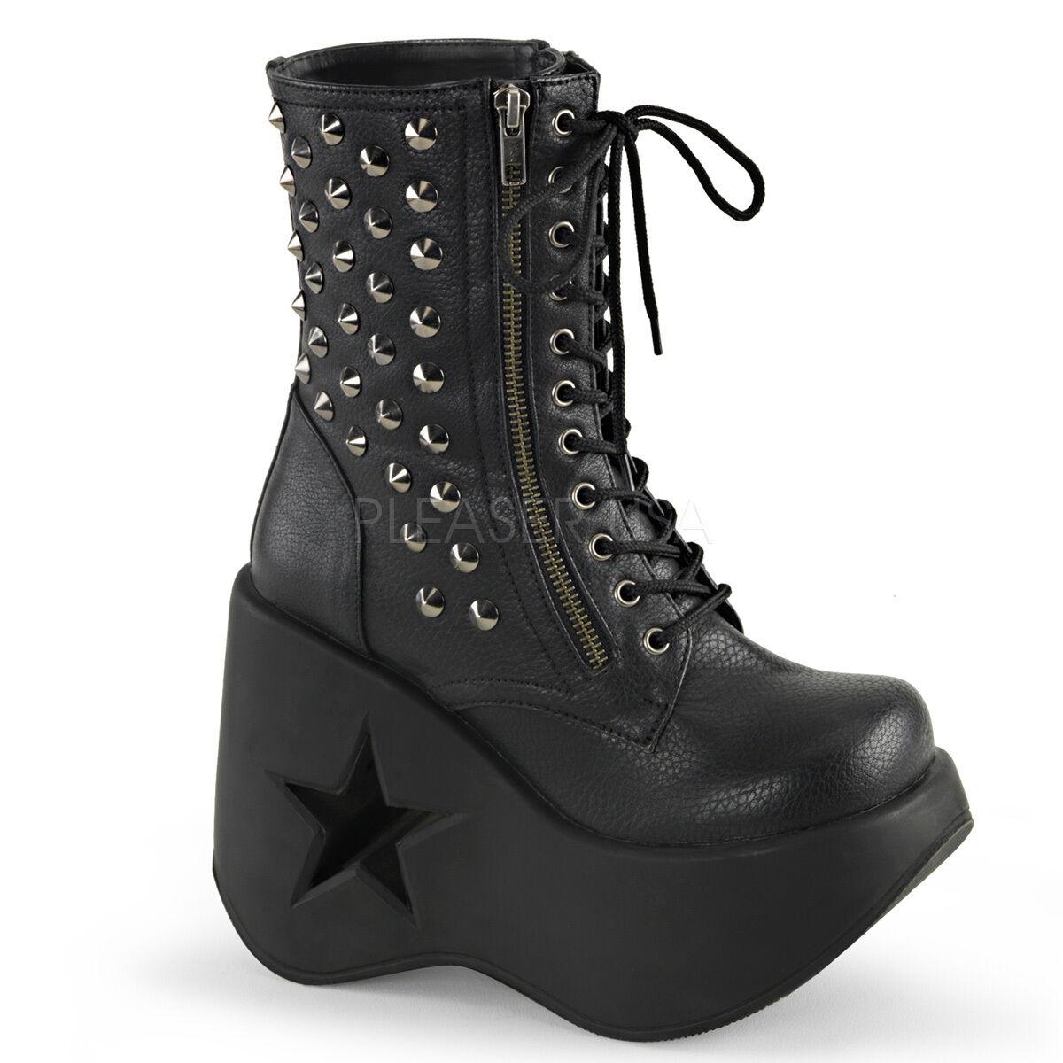 DEMONIA DYN100 BPU Women's Star Cutout Platform Punk Goth Studded Ankle Boots