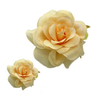 10-50X-Champagne-big-Silk-Rose-Rayon-flower-head-Wedding-Party-Decoration-9-5cm
