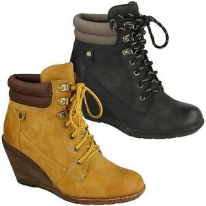 Ladies Wedge Boots Women Smart Ankle Combat Biker Army Hiking Desert ... 0b1260db96