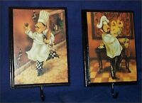 Wall Plaque Fat Chef Pictures Hooks Decor Set 2 Brick