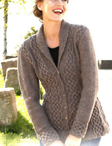 Womans Ladies Celtic Cardigan Cables/Shawl Collar 36