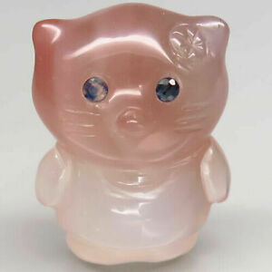29.96 Carats 22x17x11mm NATURAL bi-color AGATE with Sapphire Eyes Kitty Carving