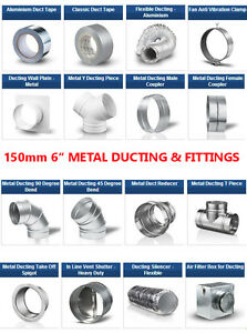 6-inch-dia-150mm-Metal-Ducting-Fittings-Pipe-Ventilation-for-Extractor-Fan