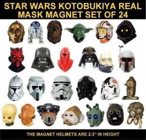 COMPLETE-SET-OF-24-STAR-WARS-KOTOBUKIYA-ARTBOX-REAL-MASK-HELMET-3-034-MAGNETS-TY474