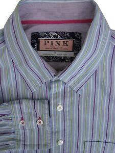 bf048a65 THOMAS PINK Shirt Mens 16 M Blue - Purple Green & White Stripes | eBay