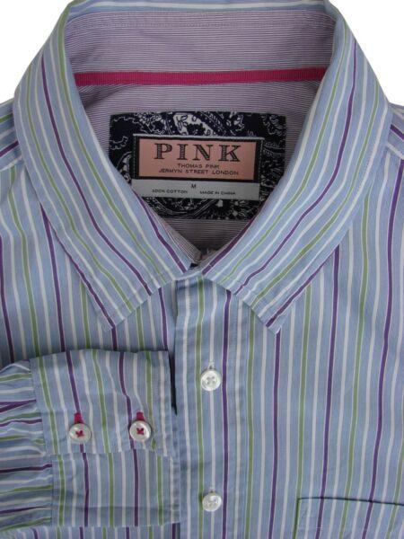 Cooperativa Thomas Pink Camicia Blu Da Uomo 16 M-viola Green & White Stripes Alta Qualità