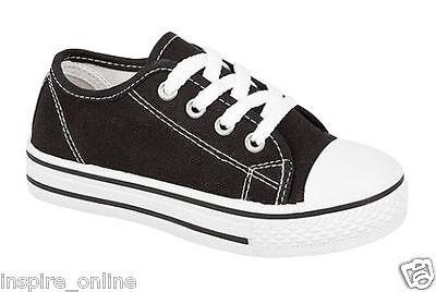 Kids Niños Niños Niñas Lona Informal Zapatos Bombas Zapatillas Con Cordones Plimsolls