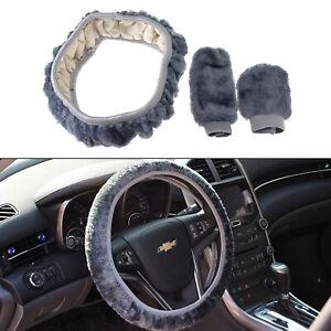 Set-of-3-Universal-Grey-Car-Van-Steering-Wheel-Hand-Brake-Plain-Cover-Protector