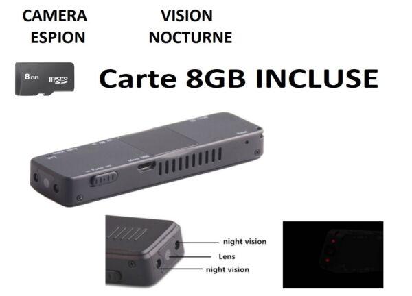 AgréAble Camera Espion Hd 1920x1080 + Carte Sd 8 Go - Vision Nocturne - Audio - Mini Dv