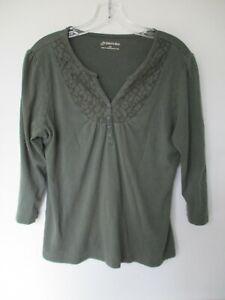 St-John-039-s-Women-039-s-Size-L-100-Cotton-Solid-Green-3-4-Blouse-Shirt-Top