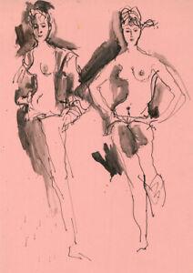 Peter Collins ARCA - c.1970s India Ink, Life Studies in Pink