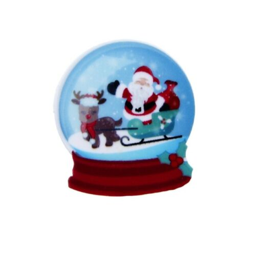 5 X 33MM corte láser de la Navidad Santa snowglobe Navidad Diademas moños de resina de reverso plano