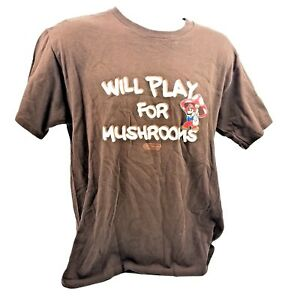 dc267f6a4 Super Mario Bros T-Shirt Adult Medium Will Play For Mushrooms Brown ...
