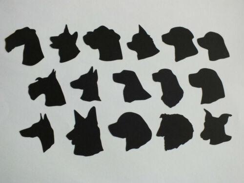 9 DOG HEADS SILHOUETTE DIE CUTS ASSORTED BREEDS TOPPERS 15 CONFETTI 3cm