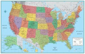 32x50 Rand McNally Style United States USA-US Large Wall Map Poster ...