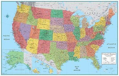 RMC World Map Poster Signature Series Large Wall Map Rand McNally Styling