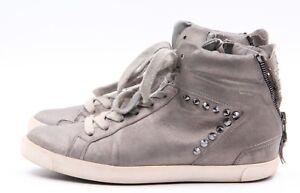 KENNEL-amp-SCHMENGER-High-Top-Sneaker-Gr-36-5-UK-3-5-Grau-Leder-Echtleder-Nieten