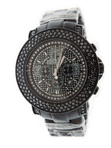 New-Don-amp-Co-5-00CT-3-rows-Large-Diamonds-50mm-Stainless-steel-Watch-black-case