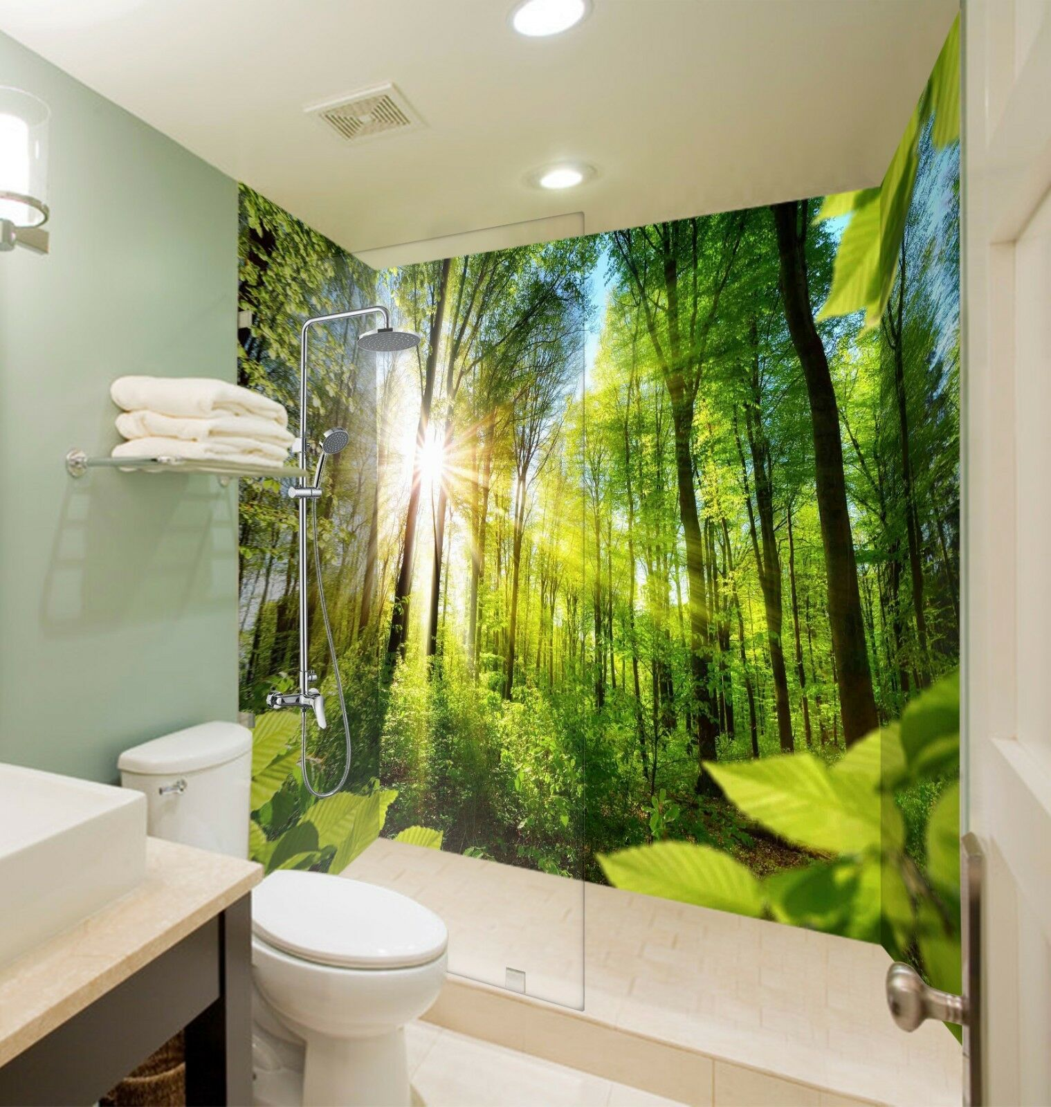 3D Sunshine forest 637 WallPaper Bathroom Print Decal Wall Deco AJ WALLPAPER UK