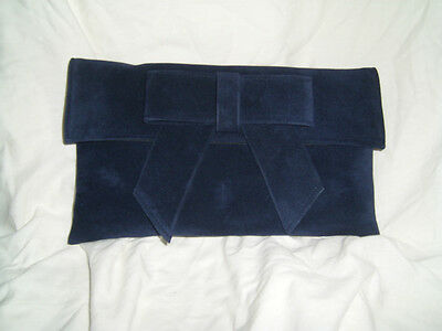 Suedette Large Flat Dark Navy Suede clutch bag
