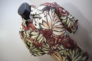 37273-Herren-CUBAVERA-100-Viskose-Kurzarm-Blumenmuster-Hawaii-Shirt-Large