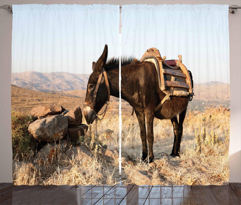 Donkey Donkey Donkey Curtains 2 Panel Set Decoration 5 Größes Window Drapes Ambesonne f02a1b