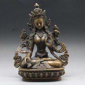 China collect exquisite Tibet Brass Tibetan Buddhism Statue ---- White tara