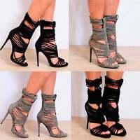 Ladies Black Khaki Green Faux Suede Strappy Open Toe Stiletto High Heels 3-8