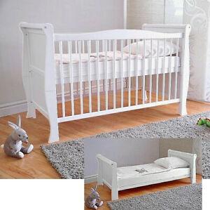 Weiß Babybett Kinderbett Juniorbett Massivholz ✔ Deluxe Matratze Aloe Vera