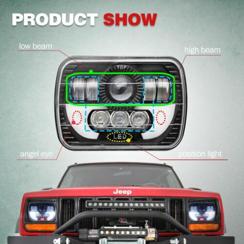 "Pair 5x7/"" LED Headlights Conversion Kit Halo DRL fit Ford F650 F750 Truck E-150"