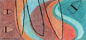 ABSTRACT-BOATS-AT-SEA-Coloured-Pencil-Drawing-ARTHUR-MITSON-1987-SEASCAPE