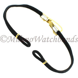 Hadley-Roma-Stainless-Steel-Gold-Tone-Ladies-Black-Cord-Watch-Band-LB1021Y-Long