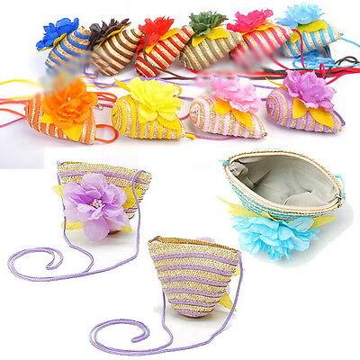 Trendy Straw Flower Messager Beach Bag Baby Children Girl Handbag Purse Gift